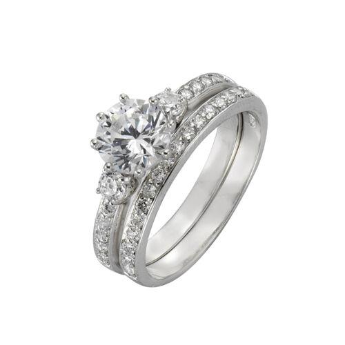Zeeme Silver ring set 2 piezas 925 Sterling plata rhodiniert circonita blanco