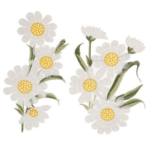 Appliqué À Coudre En Dentelle Broderie Accessoire Brodées Blanc Fleur Dessin