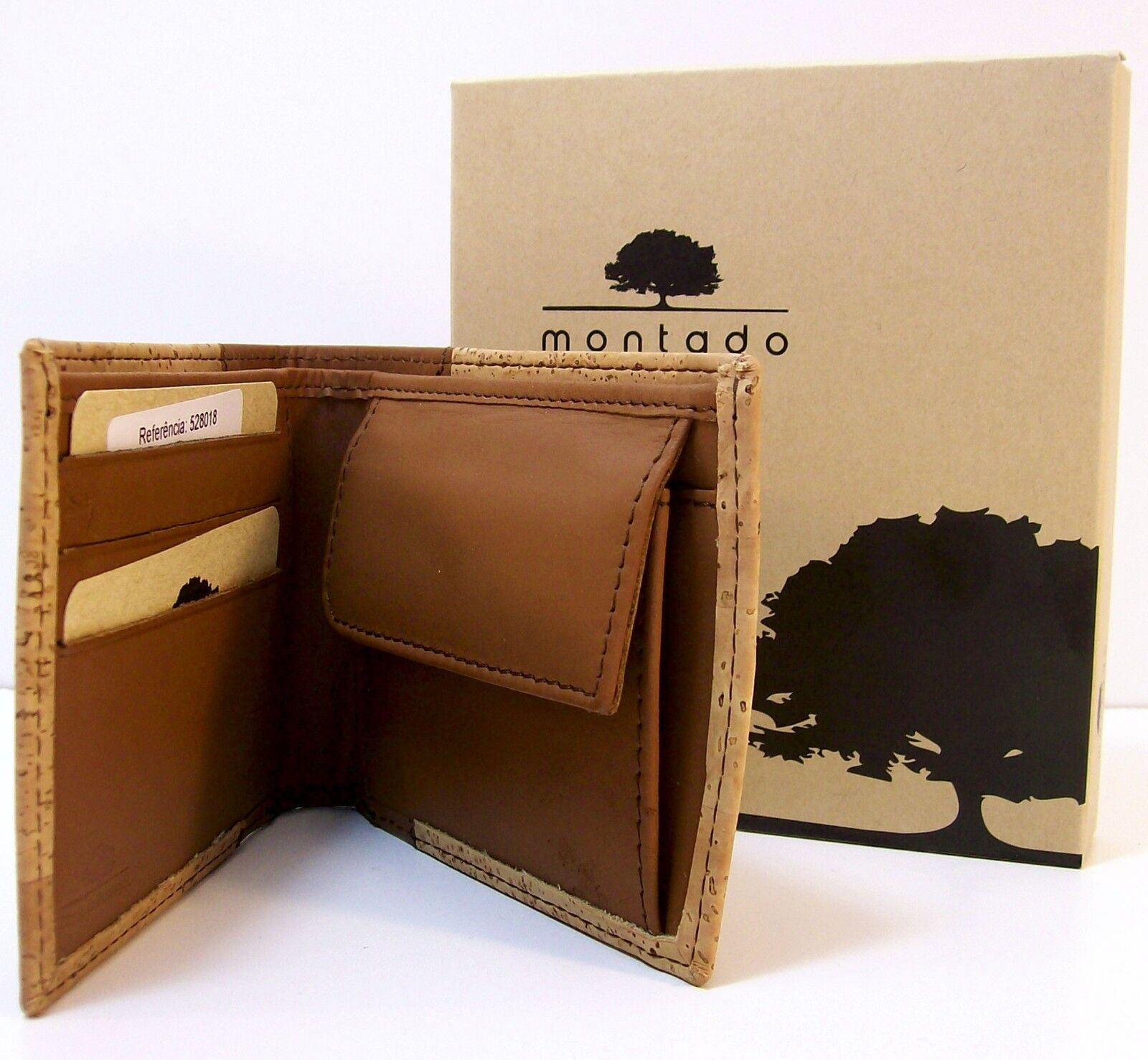 Fathers Day Montado Mens Cork Wallet Slim Bi Fold Credit Card and Bank note