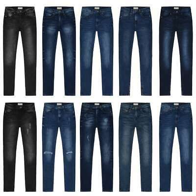 Brillant Women Skinny Jeans Mid Rise Stretch Flex Ankle Faded Ripped Plain Various Styles