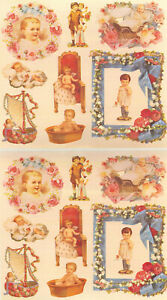 Victorian Baby Stickers - Pink, Blue, Rose Scrapbook Set of 16 Die-Cut Stickers