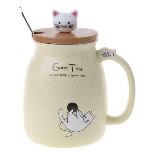 Color Cartoon Milk Coffee Ceramic Mug With Lid Spoon Cup Cute Cat Heat-resistant