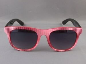 9dc10f76c79 Red White stripe front Black risky business 80s style sunglasses ...
