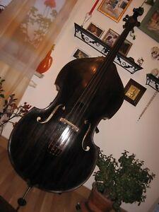 Vollholz-Antik-Kontrabass-Bass-Hervorragender-Klang-Sehr-Alt-Mensur-104-cm