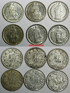 Switzerland-Silver-LOT-OF-6-COINS-1903-1955-1-2-Franc-KM-23