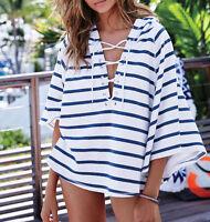 Hooded Fleece Poncho Blue Stripe Lace-up Hoodie Victoria's Secret Large L