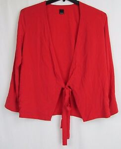 Dolce-Vita-Red-Wrap-Long-Sleeve-Blouse-Women-039-s-Size-Small