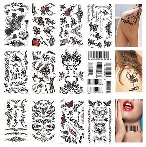 10 Pcs Temporary Tattoo Tribal Skulls Angel Wings Barcode Stars