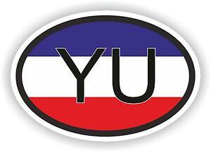 OVALE-DRAPEAU-YOUGOSLAVIE-avec-Yu-Country-Code-Autocollant-moto-auto-camion