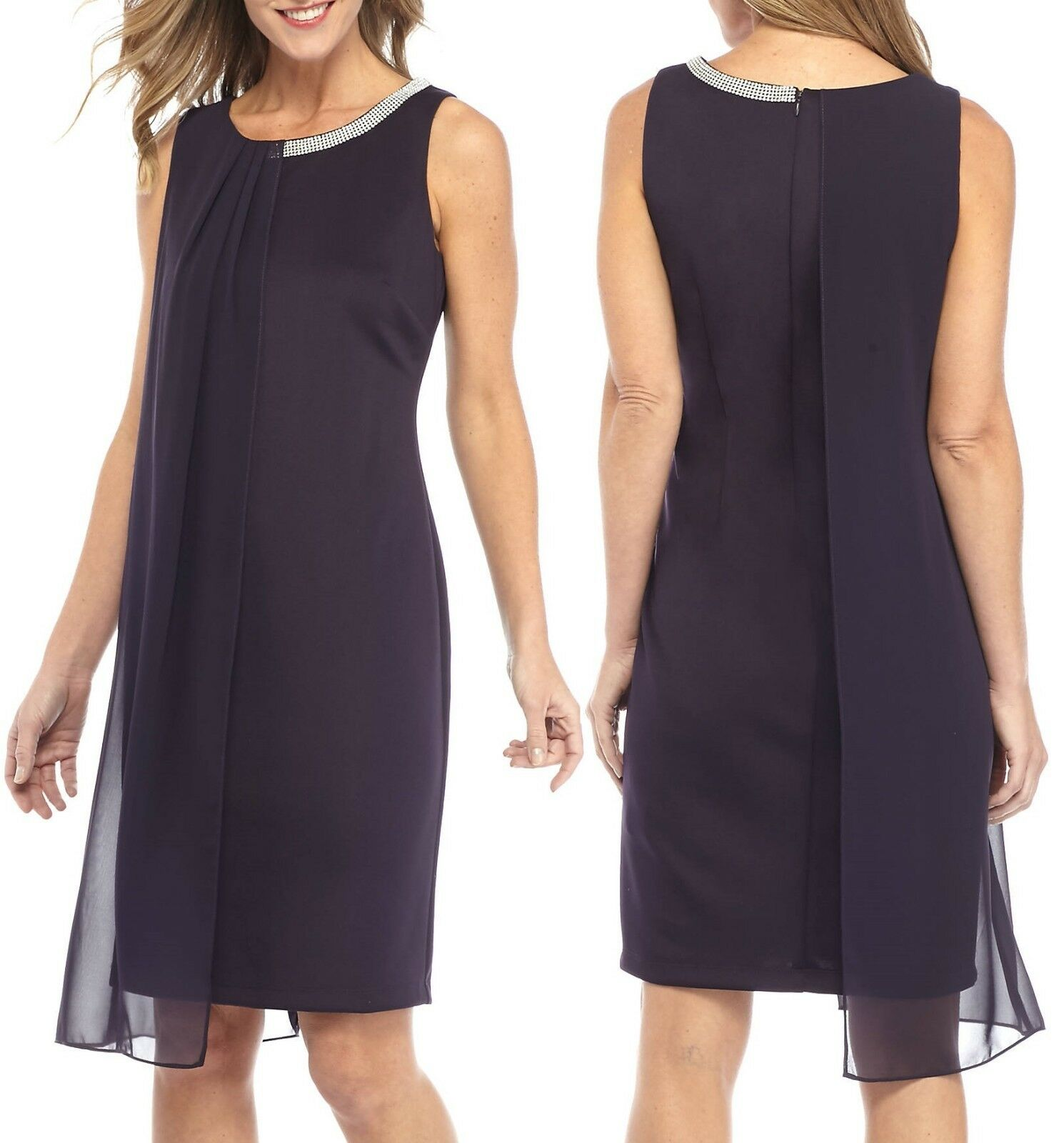 SL Fashions SLNY Storm lila Beaded Neck Sheer Overlay Stretch Ponte Dress