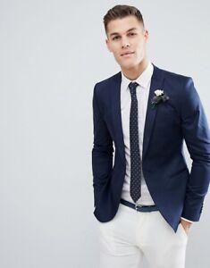 e2e6b03f51 Men's Skinny Navy Blue Jacket White Pants Groom Tuexdos Slim Fit ...