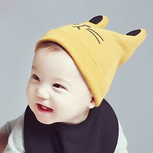 d1c8b1fea421 ... italy image is loading cartoon cat baby hat with ears kids knitted  ef47b f8b04