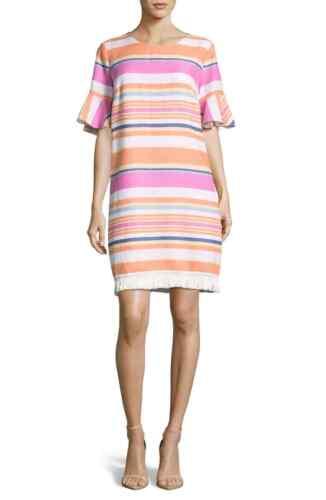 ECI Women/'s White//Pink Striped Ruffle Cuff Linen Shift Dress Size 2 REG $128