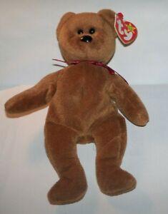 1995-Ty-Original-Beanie-Babies-TEDDY-Brown-Bear-4050-ERROR-Tags-8-034-RARE-RETIRED