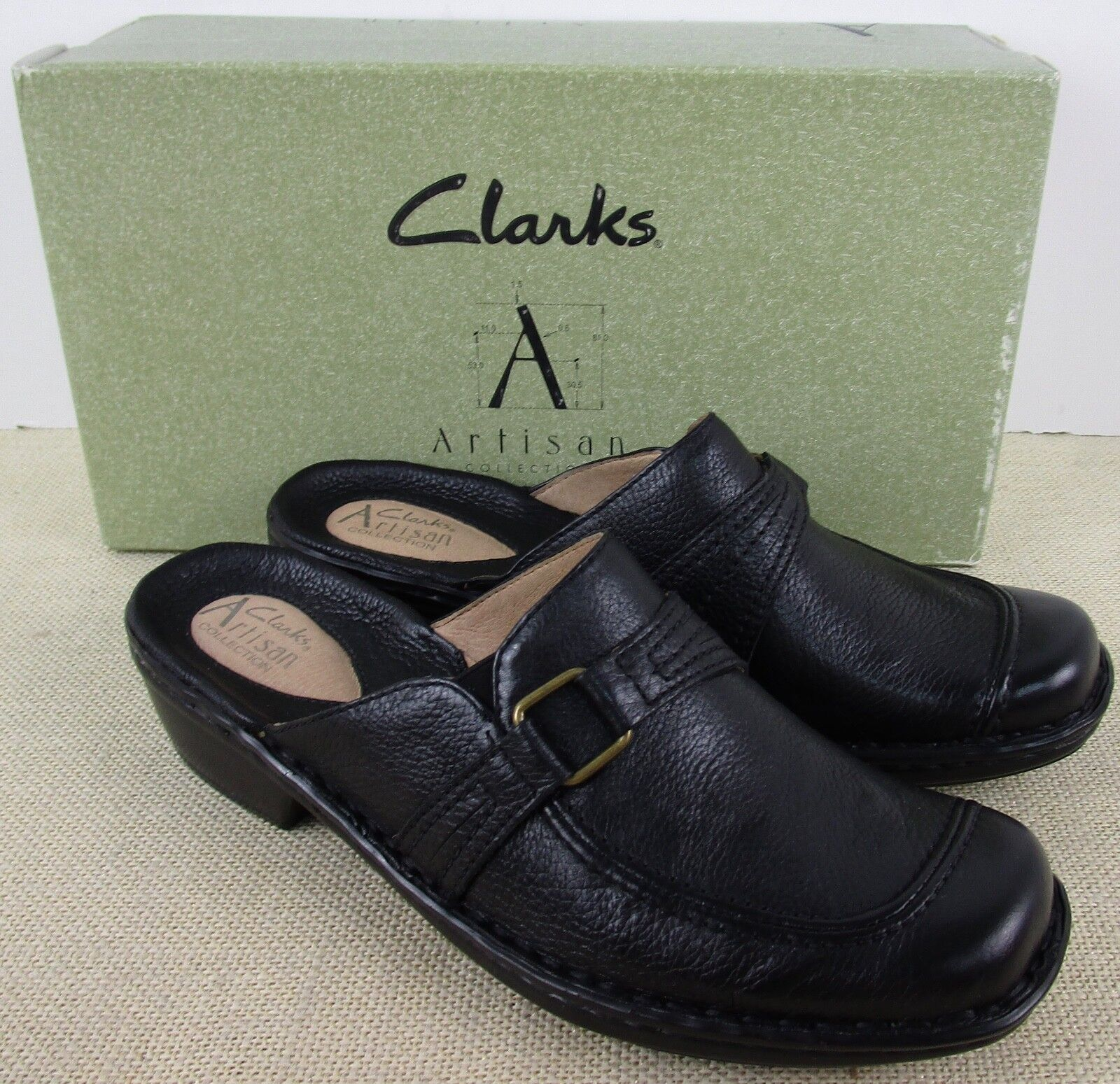 CLARKS ARTISAN 74798 WOMEN'S BLACK LEATHER CLOG SHOES NEW IN BOX