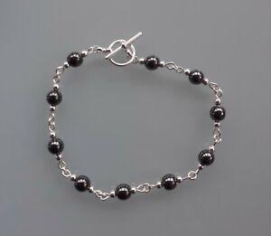 Hematite Sterling Silver bracelet. Gemstone reiki crystal healing chakra
