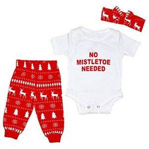 a22d02168 Baby Girl First Christmas Mistletoe Layette Set Headband Outfit 1st ...