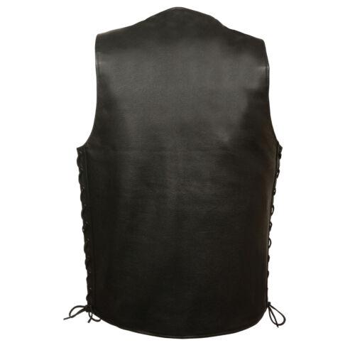 Gun Pockets Milwaukee Mens Black Leather Straight Bottom Snap Vest w Side Lace