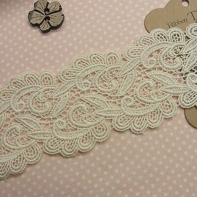 1yard Antique Style scalloped Embroidery Cotton Fabric Crochet Lace Trim 8cm WD