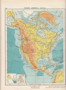 1923 MAP ~ NORTH AMERICA PHYSICAL ~ HEIGHTS & DEPTHS CANADA MEXICO ...