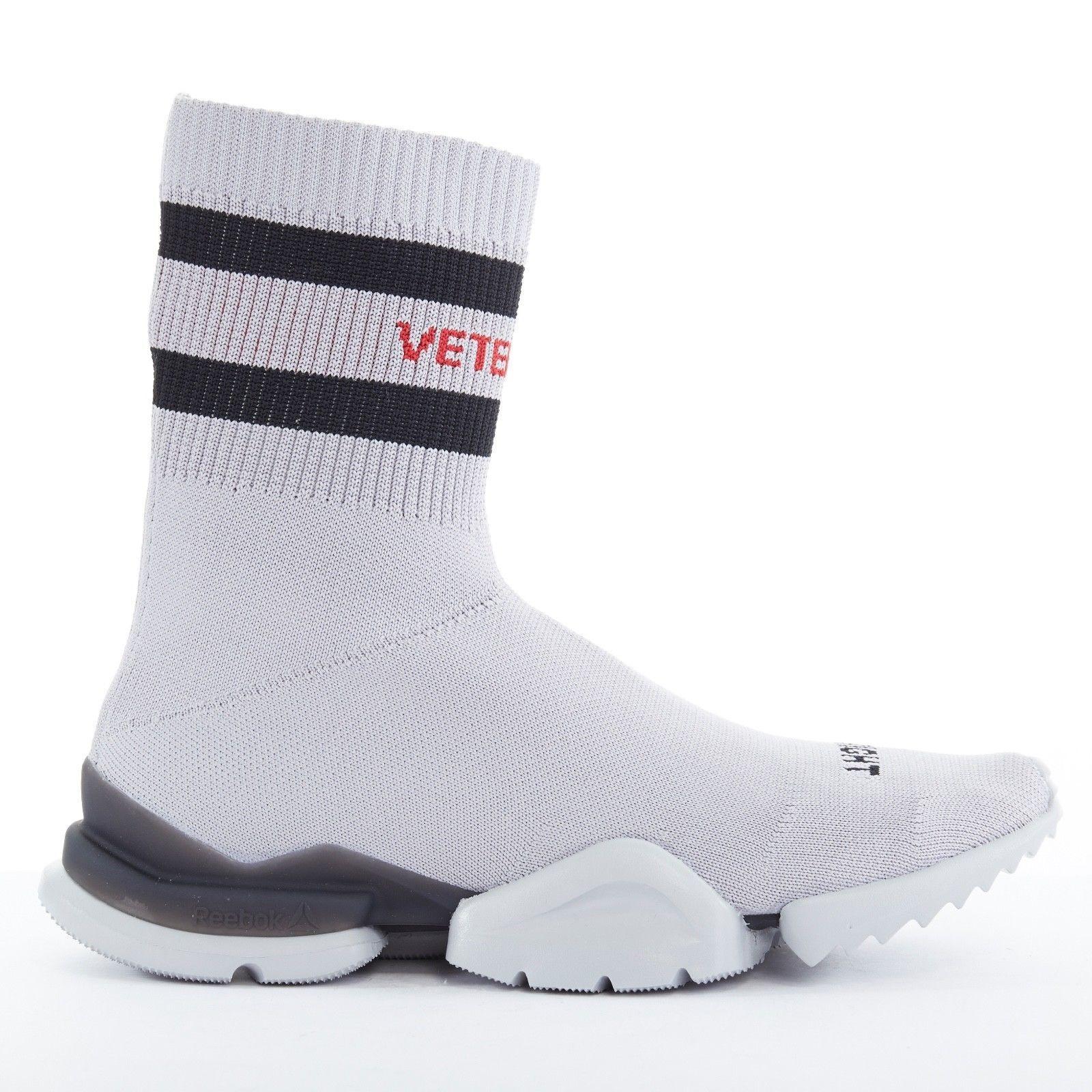 NUOVO vetements REEBOK Sock Runner Grigio CALZINO Knit velocità Trainer Scarpe da ginnastica EU41