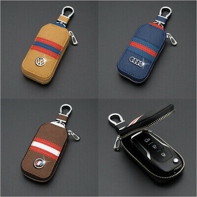 4 Colors Leather Cowhide Car Key Holder Keychain Case Bag Auto Remote Key Fob