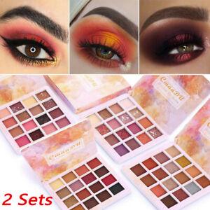2x-Cosmetic-Matte-Eyeshadow-Cream-Makeup-Palette-Shimmer-Set-16-Colors-Eyeshadow