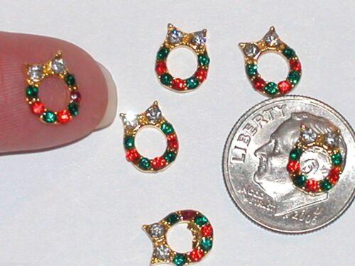 2pc Miniature TINY little crystal Christmas stockings Santa boot nail flatback