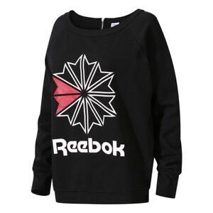 Reebok Classics Women/'s Heritage Crew Starcrest Sweatshirt Black CV5033