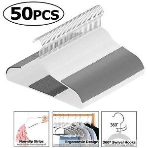 Pack-of-50-Plastic-Hangers-Hook-Non-Slip-Surface-Clothing-Organizer-360-Swivel
