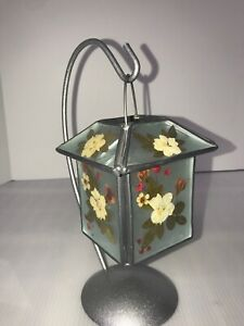 Dried-Pressed-Flowers-Hanging-Lantern-Candle-Holder-Metal-amp-Glass-Leaded-Vtg