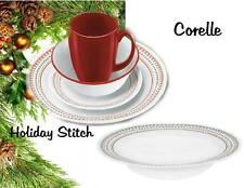 Corelle Winter HOLIDAY Cross Stitch 28oz ENTREE SOUP BOWL Christmas RED & GREEN