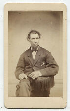 CDV LONG FACED MAN WITH MESSY HAIR AND CHIN BEARD. MECHANICVILLE, N.Y.