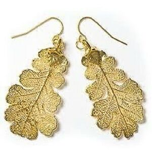 GENUINE-OAK-LEAF-EARRINGS-GOLD-NEW-BEAUTIFUL