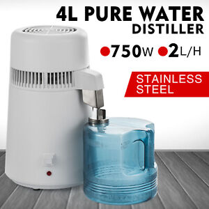 4L Pure Water Distiller 750W Countertop Purifier Stainless Steel Interior Home