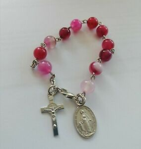 pink agate beads rosary bracelet