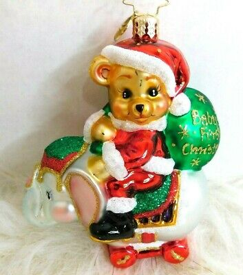 Christmas Ornament Christopher Radko Hurry Santa Its Babys First Christmas Home Kitchen Ornaments