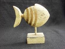 1 hübscher Fisch gold gelb S,  aus Holz, für Wohnung, Wintergarten, usw.