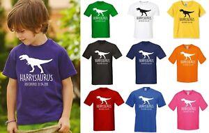 T-REX-PERSONALIZZATA-Bambini-Dinosauro-T-shirt-qualsiasi-nome-regalo-di-compleanno-JURASSIC