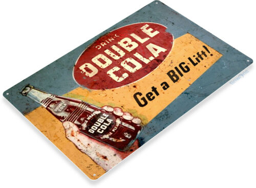 TIN SIGN Double Cola Retro Rustic Cola Soda Store Beverage Bar Sign Kitchen C392