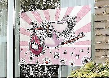 Storch Fensterfahne Geburtsanzeige Geburt Deko Baby Geburtsdekoration Mädchen