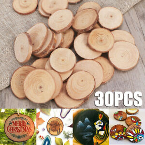 30pcs-Bois-Log-Tranches-PIN-ronde-Tranches-mariage-pyrogravure-Bricolage-Artisanat-Decoration