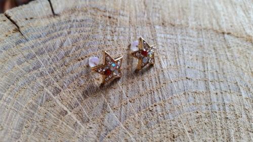 Ohrringe Sterne mit bunten Kristallen romantisch edel Glitzer Damen neu