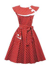 Rosa-Rosa-Vtg-1950s-Retro-Rouge-A-Pois-Rockabilly-Bal-Soiree-Swing-Robe