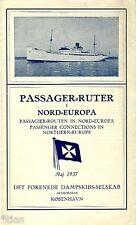 Det Forenede Dampskibs Selskab AK København Passager Ruter Fahrplan Europa 1937