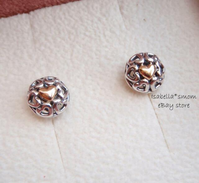My One True Love Genuine Pandora Silver 14k Gold Heart Earring Studs 290557 New