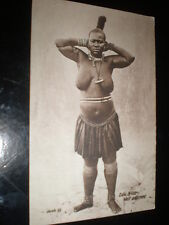 Old postcard nude Zulu woman by Valentine at Cape Town c1900s