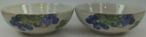 222-Fifth-GRAPEVINE-6-034-Cereal-Bowls-Genuine-Stoneware-Grapes-Vines-2pcs-MINT