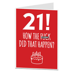 Image Is Loading Funny 21st Birthday Card 21 Today For Men