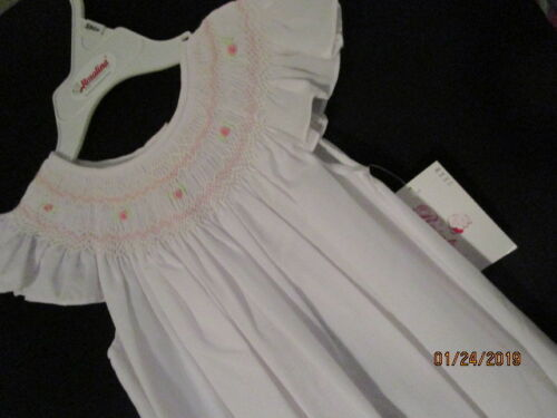 NEW WHITE HEIRLOOM BISHOP SMOCKING WT /& PK BULLION ROSES ANGEL SLEEVES ROSALINA
